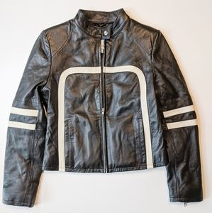 WILSON LEATHER MAXIMA Black Moto Racer Jacket